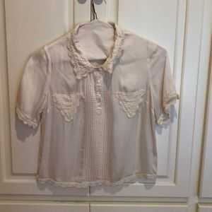 Silky button up blouse w lace